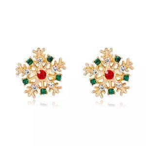 Christmas Crystal Snowflake Stud Earrings